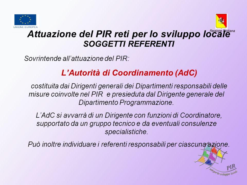 Attuazione del PIR reti per lo sviluppo locale SOGGETTI REFERENTI Sovrintende allattuazione del PIR: LAutorità di Coordinamento (AdC) costituita dai D