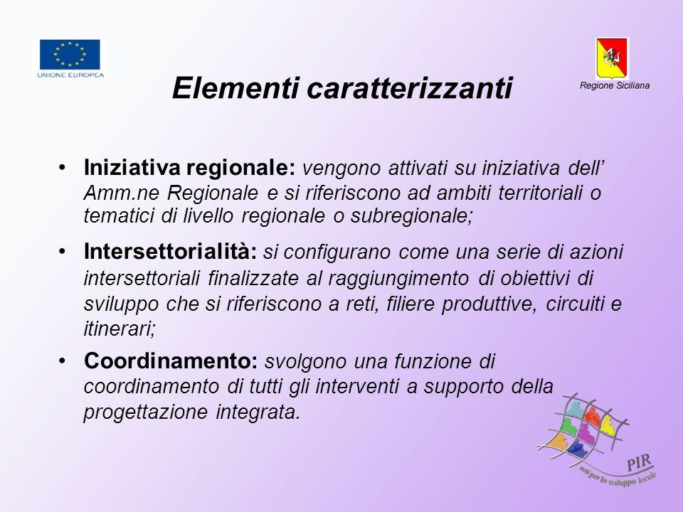 Elementi caratterizzanti Iniziativa regionale: vengono attivati su iniziativa dell Amm.ne Regionale e si riferiscono ad ambiti territoriali o tematici