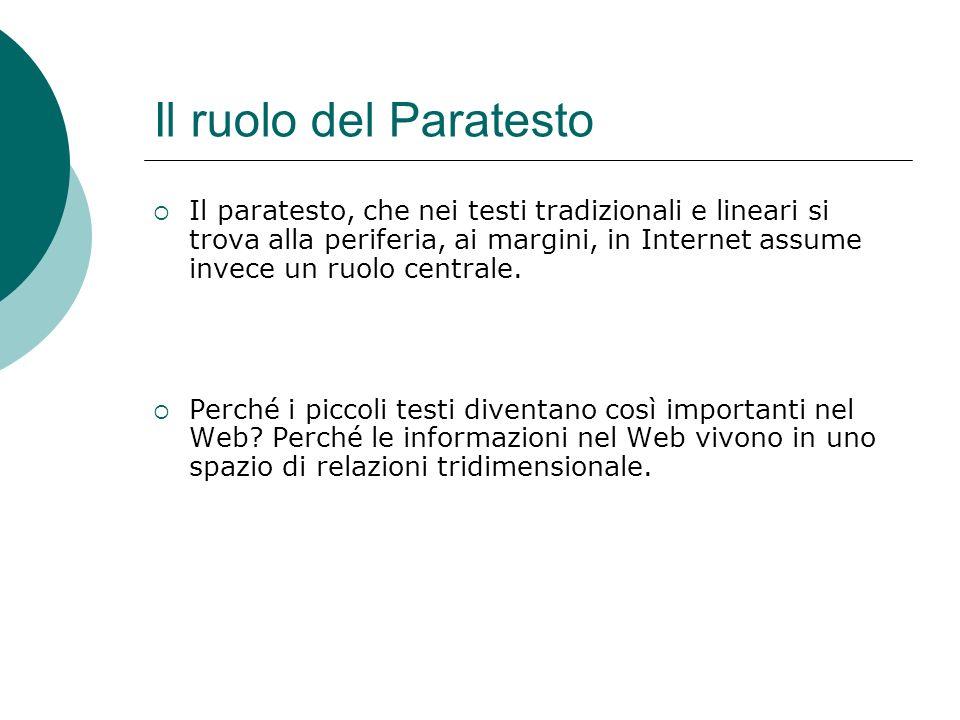 Il ruolo del Paratesto Il paratesto, che nei testi tradizionali e lineari si trova alla periferia, ai margini, in Internet assume invece un ruolo centrale.