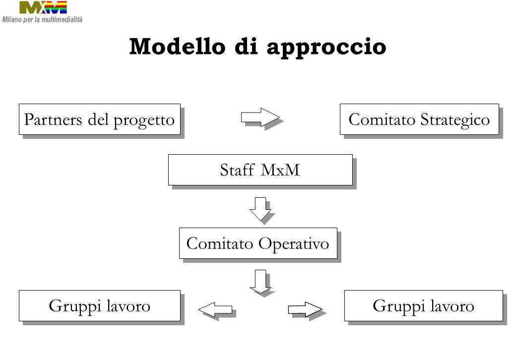 Partners del progetto Comitato Strategico Gruppi lavoro Staff MxM Gruppi lavoro Comitato Operativo Modello di approccio