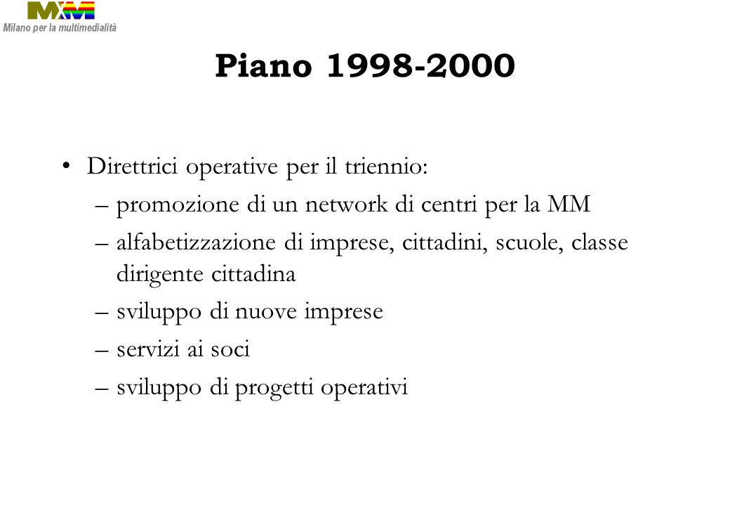 Piano 1998-2000 Direttrici operative per il triennio: –promozione di un network di centri per la MM –alfabetizzazione di imprese, cittadini, scuole, c