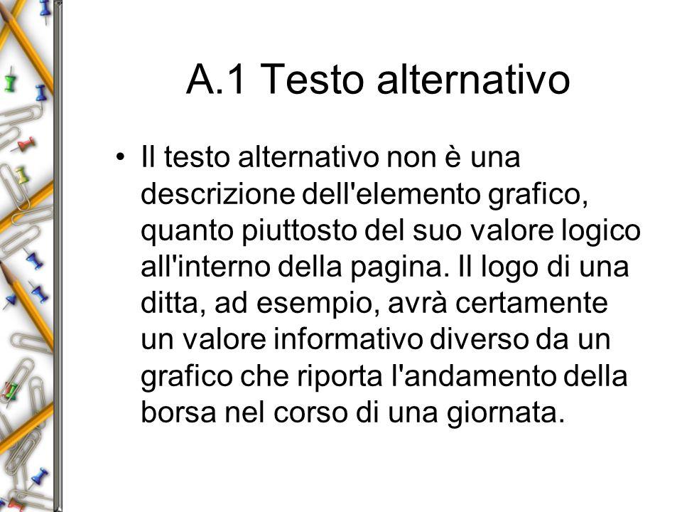 A.1 Testo alternativo Il testo alternativo non è una descrizione dell elemento grafico, quanto piuttosto del suo valore logico all interno della pagina.