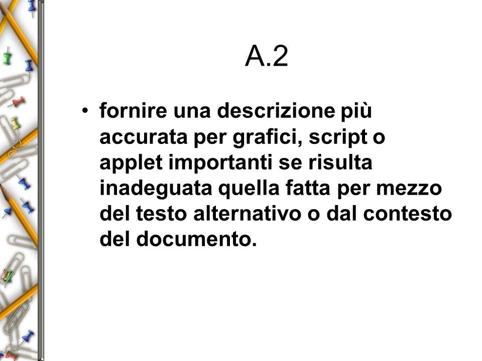 A.2 fornire una descrizione più accurata per grafici, script o applet importanti se risulta inadeguata quella fatta per mezzo del testo alternativo o dal contesto del documento.