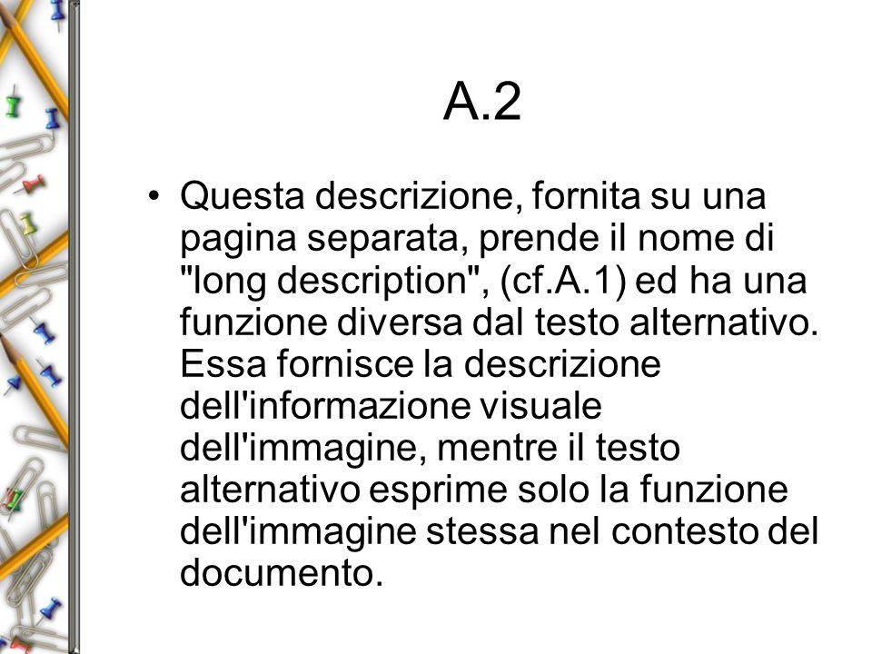 A.2 Questa descrizione, fornita su una pagina separata, prende il nome di long description , (cf.A.1) ed ha una funzione diversa dal testo alternativo.