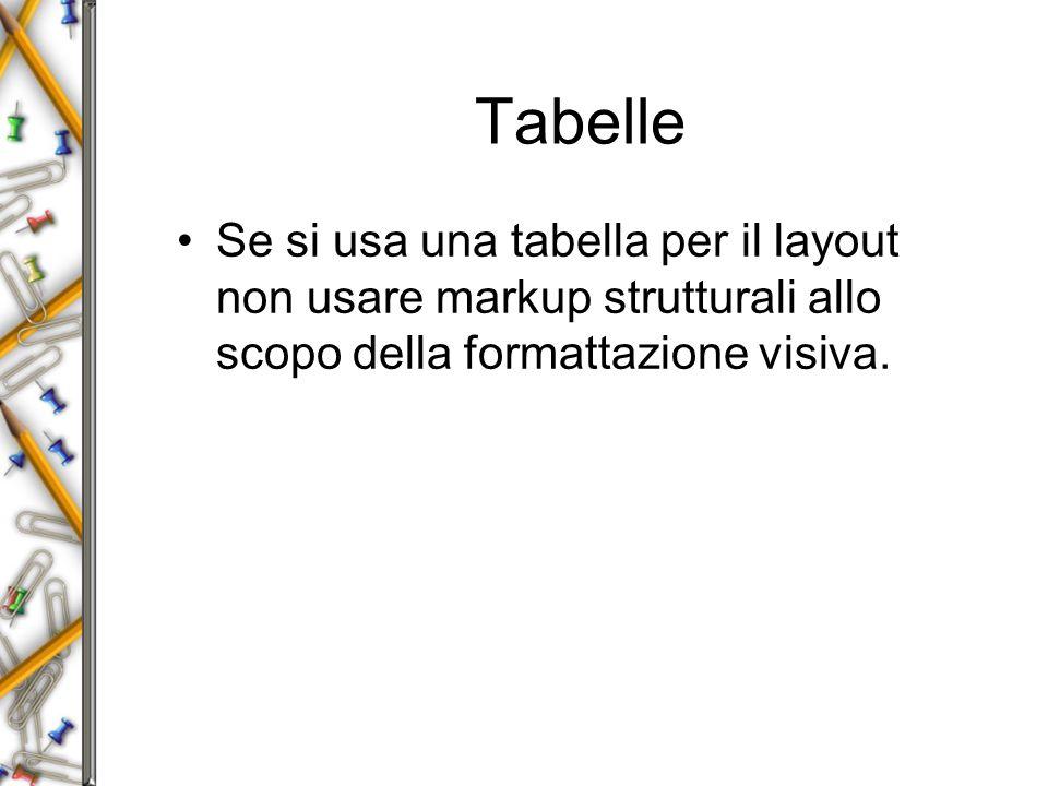 Tabelle Se si usa una tabella per il layout non usare markup strutturali allo scopo della formattazione visiva.