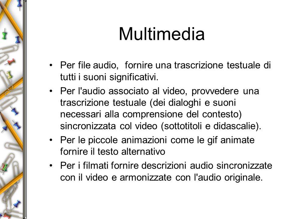 Multimedia Per file audio, fornire una trascrizione testuale di tutti i suoni significativi.