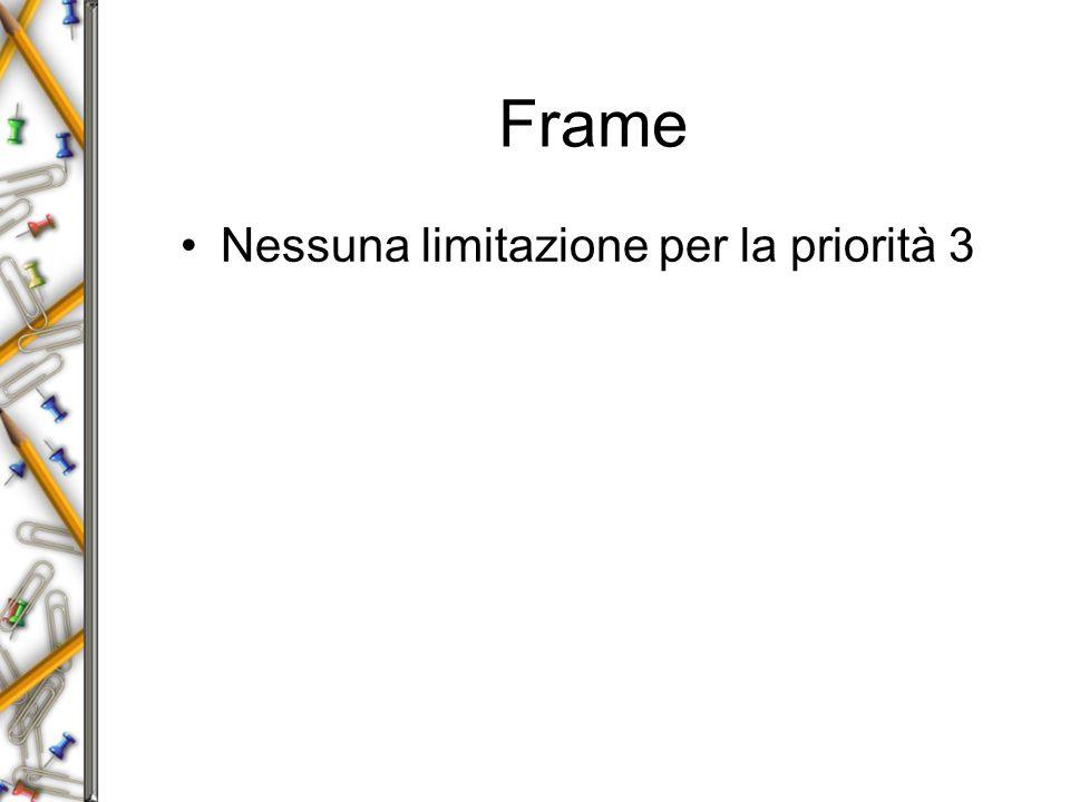 Frame Nessuna limitazione per la priorità 3