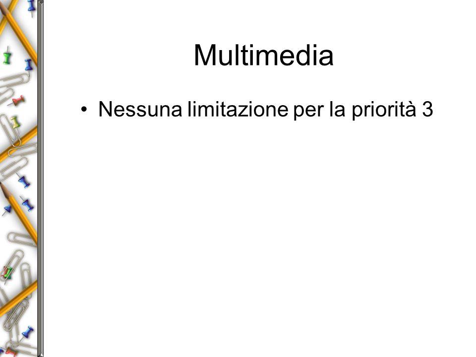 Multimedia Nessuna limitazione per la priorità 3