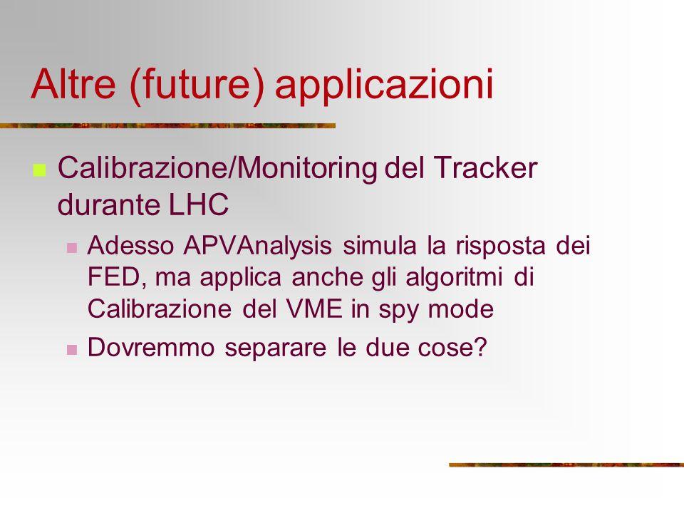 Altre (future) applicazioni Calibrazione/Monitoring del Tracker durante LHC Adesso APVAnalysis simula la risposta dei FED, ma applica anche gli algoritmi di Calibrazione del VME in spy mode Dovremmo separare le due cose