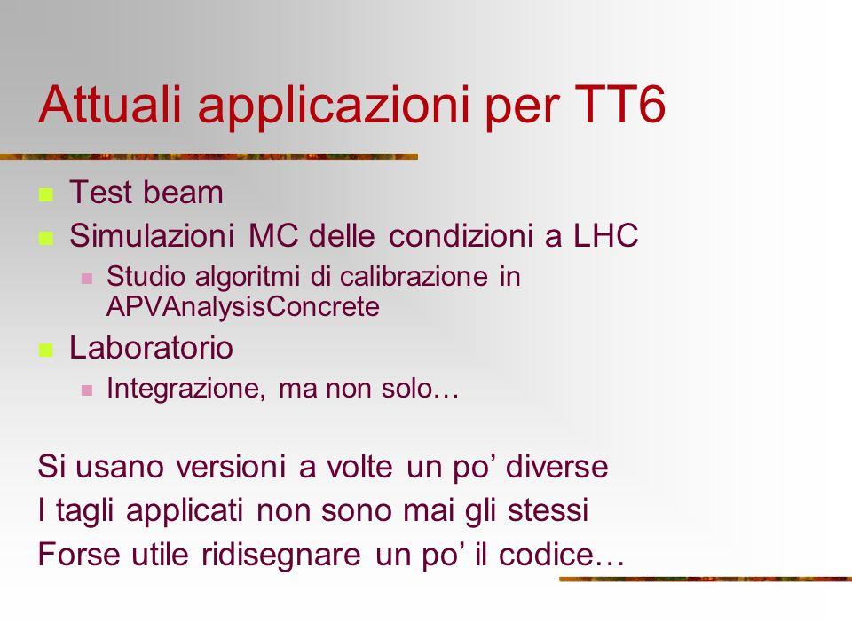 Attuali applicazioni per TT6 Test beam Simulazioni MC delle condizioni a LHC Studio algoritmi di calibrazione in APVAnalysisConcrete Laboratorio Integrazione, ma non solo… Si usano versioni a volte un po diverse I tagli applicati non sono mai gli stessi Forse utile ridisegnare un po il codice…