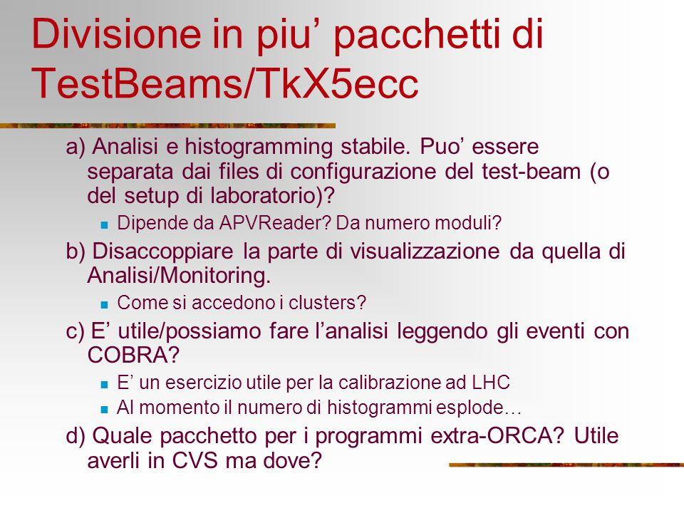 Divisione in piu pacchetti di TestBeams/TkX5ecc a) Analisi e histogramming stabile. Puo essere separata dai files di configurazione del test-beam (o d