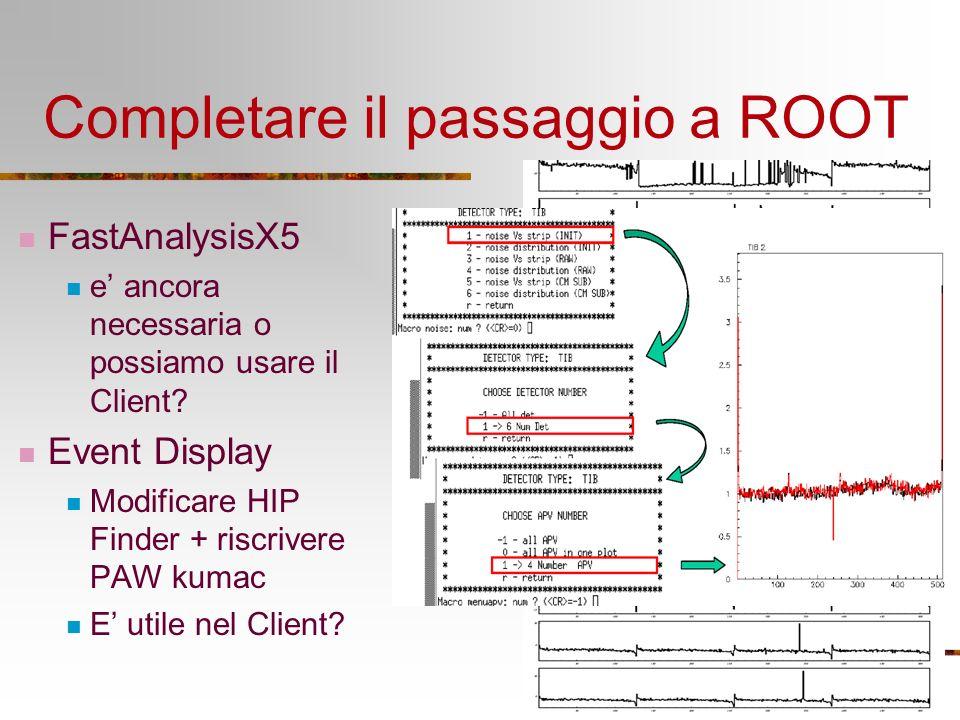 Completare il passaggio a ROOT FastAnalysisX5 e ancora necessaria o possiamo usare il Client? Event Display Modificare HIP Finder + riscrivere PAW kum