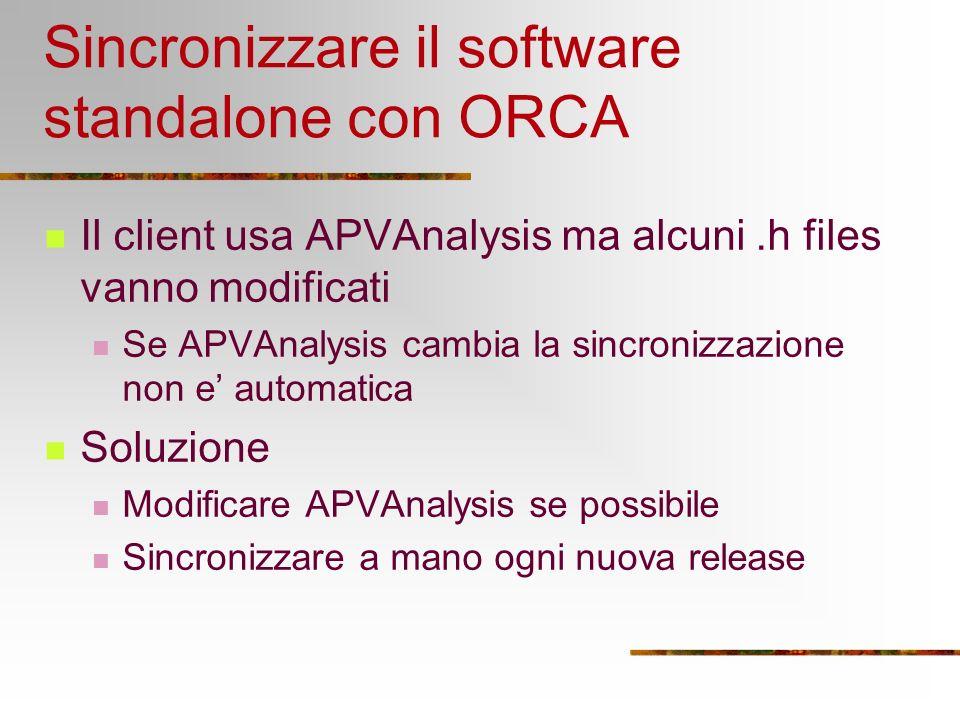 Sincronizzare il software standalone con ORCA Il client usa APVAnalysis ma alcuni.h files vanno modificati Se APVAnalysis cambia la sincronizzazione non e automatica Soluzione Modificare APVAnalysis se possibile Sincronizzare a mano ogni nuova release