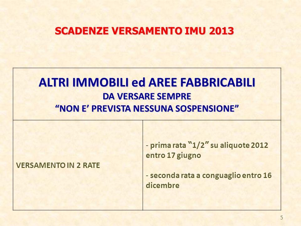 5 ALTRI IMMOBILI ed AREE FABBRICABILI DA VERSARE SEMPRE NON E PREVISTA NESSUNA SOSPENSIONE VERSAMENTO IN 2 RATE - prima rata 1/2 su aliquote 2012 entr