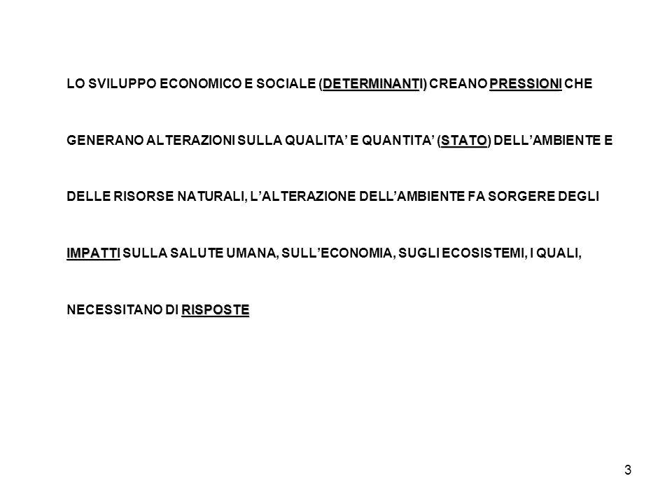 3 DETERMINANTI)PRESSION LO SVILUPPO ECONOMICO E SOCIALE (DETERMINANTI) CREANO PRESSIONI CHE STATO GENERANO ALTERAZIONI SULLA QUALITA E QUANTITA (STATO