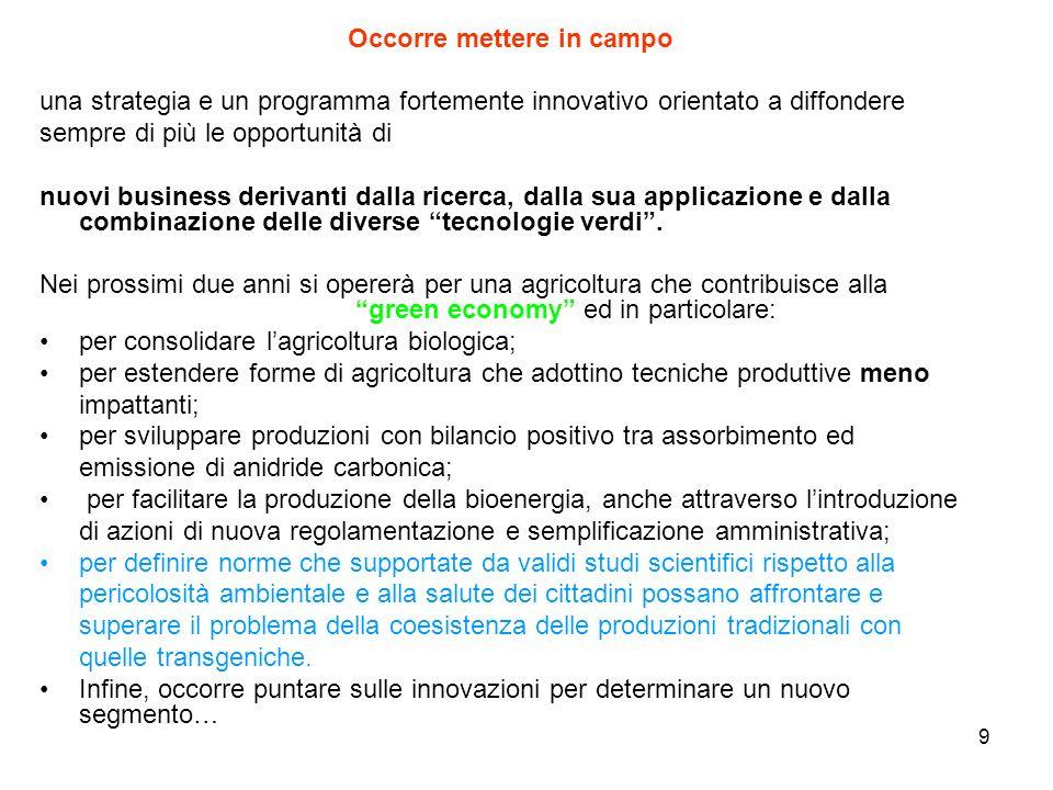 9 Occorre mettere in campo una strategia e un programma fortemente innovativo orientato a diffondere sempre di più le opportunità di nuovi business derivanti dalla ricerca, dalla sua applicazione e dalla combinazione delle diverse tecnologie verdi.