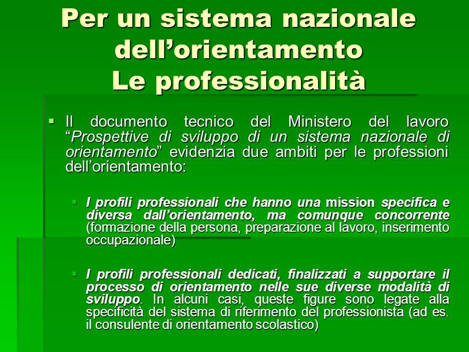 Per un sistema nazionale dellorientamento Le professionalità Il documento tecnico del Ministero del lavoroProspettive di sviluppo di un sistema nazion