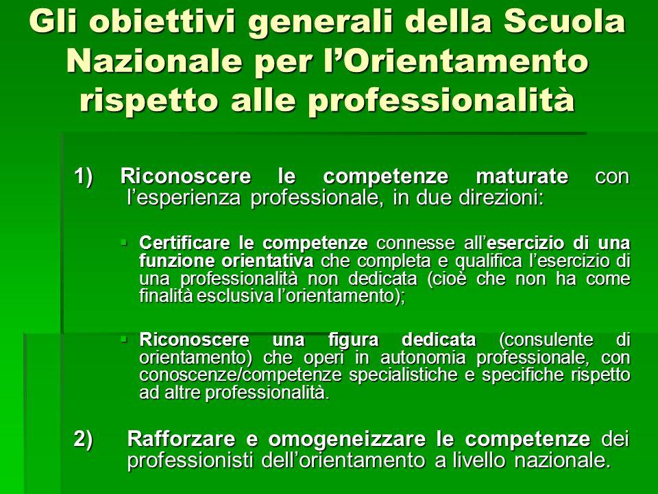 Gli obiettivi generali della Scuola Nazionale per lOrientamento rispetto alle professionalità 1) Riconoscere le competenze maturate con lesperienza pr