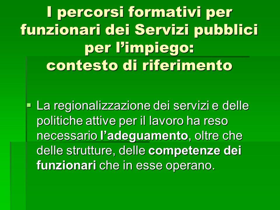 I percorsi formativi per funzionari dei Servizi pubblici per limpiego: contesto di riferimento La regionalizzazione dei servizi e delle politiche atti