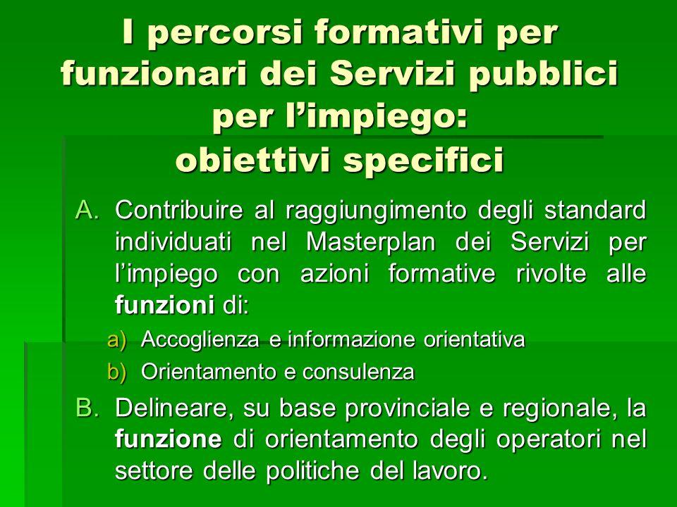 I percorsi formativi per funzionari dei Servizi pubblici per limpiego: obiettivi specifici A.Contribuire al raggiungimento degli standard individuati