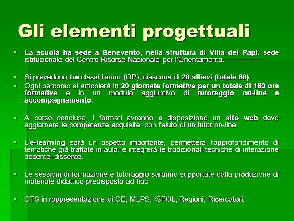 Gli elementi progettuali La scuola ha sede a Benevento, nella struttura di Villa dei Papi, sede istituzionale del Centro Risorse Nazionale per lOrientamento.