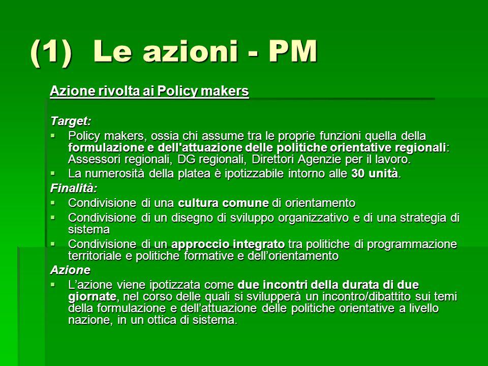 (1) Le azioni - PM Azione rivolta ai Policy makers Target: Policy makers, ossia chi assume tra le proprie funzioni quella della formulazione e dell'at