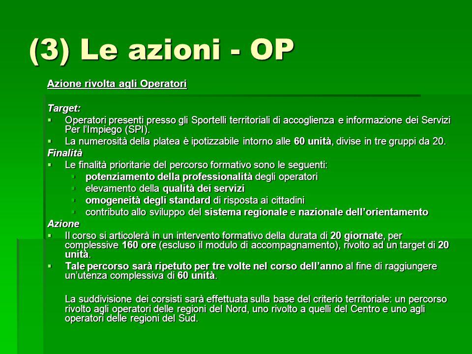 (3) Le azioni - OP Azione rivolta agli Operatori Target: Operatori presenti presso gli Sportelli territoriali di accoglienza e informazione dei Servizi Per lImpiego (SPI).