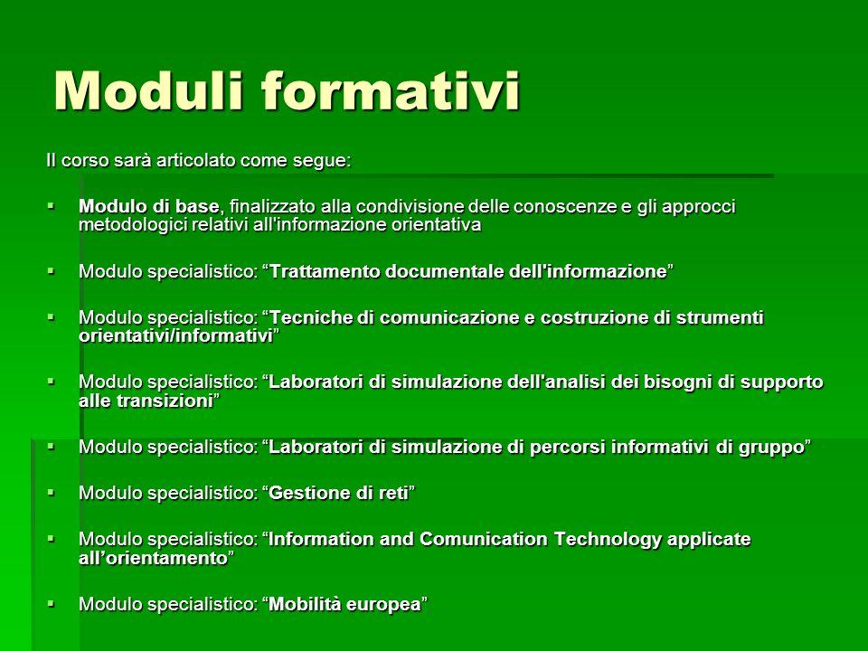 Moduli formativi Il corso sarà articolato come segue: Modulo di base, finalizzato alla condivisione delle conoscenze e gli approcci metodologici relat