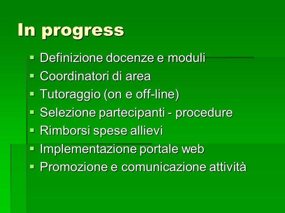 In progress Definizione docenze e moduli Definizione docenze e moduli Coordinatori di area Coordinatori di area Tutoraggio (on e off-line) Tutoraggio