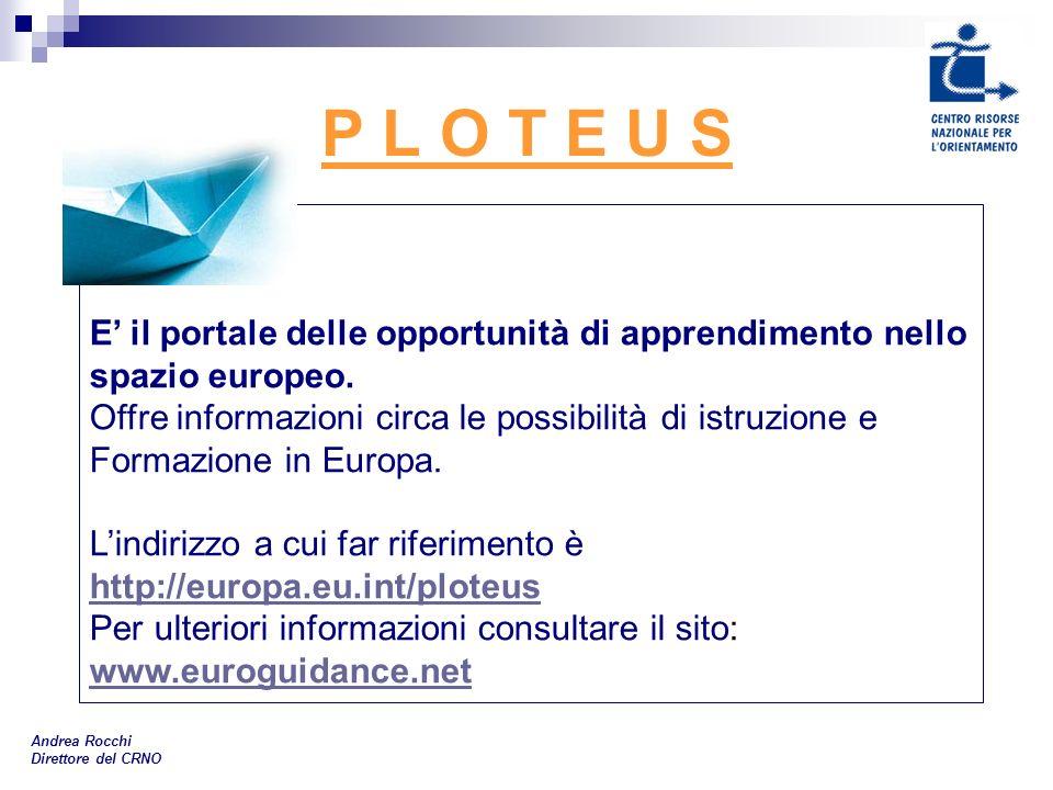 P L O T E U S Andrea Rocchi Direttore del CRNO E il portale delle opportunità di apprendimento nello spazio europeo. Offre informazioni circa le possi