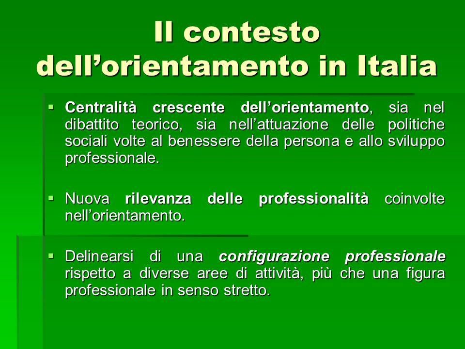Il contesto dellorientamento in Italia Centralità crescente dellorientamento, sia nel dibattito teorico, sia nellattuazione delle politiche sociali volte al benessere della persona e allo sviluppo professionale.