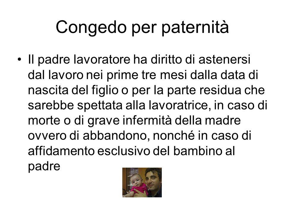 Congedo per paternità Il padre lavoratore ha diritto di astenersi dal lavoro nei prime tre mesi dalla data di nascita del figlio o per la parte residu