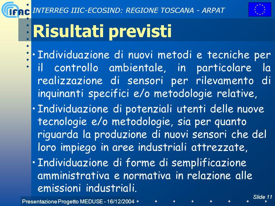 Presentazione Progetto MEDUSE - 16/12/2004 INTERREG IIIC-ECOSIND: REGIONE TOSCANA - ARPAT Slide 11 Risultati previsti Individuazione di nuovi metodi e