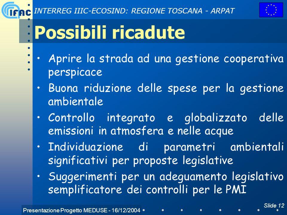 Presentazione Progetto MEDUSE - 16/12/2004 INTERREG IIIC-ECOSIND: REGIONE TOSCANA - ARPAT Slide 12 Possibili ricadute Aprire la strada ad una gestione