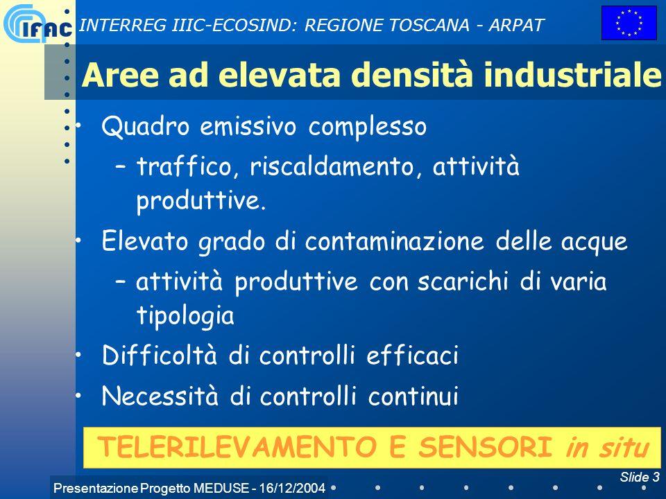 Presentazione Progetto MEDUSE - 16/12/2004 INTERREG IIIC-ECOSIND: REGIONE TOSCANA - ARPAT Slide 3 Aree ad elevata densità industriale Quadro emissivo