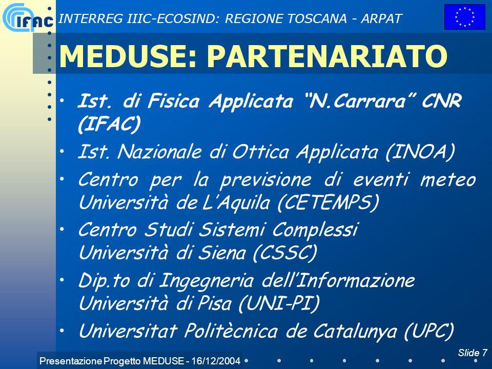 Presentazione Progetto MEDUSE - 16/12/2004 INTERREG IIIC-ECOSIND: REGIONE TOSCANA - ARPAT Slide 7 MEDUSE: PARTENARIATO Ist. di Fisica Applicata N.Carr