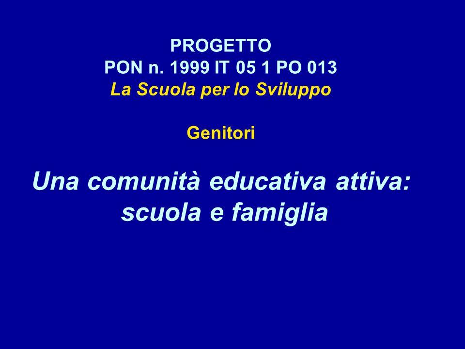 PROGETTO PON n. 1999 IT 05 1 PO 013 La Scuola per lo Sviluppo Genitori Una comunità educativa attiva: scuola e famiglia