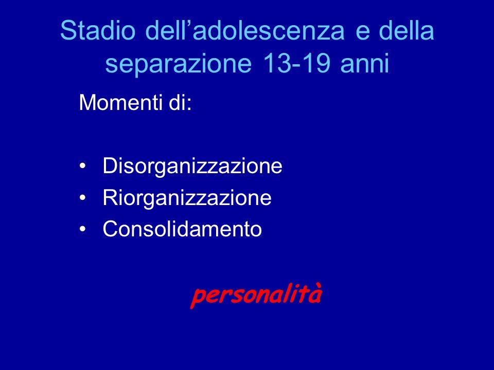 Stadio delladolescenza e della separazione 13-19 anni Momenti di: Disorganizzazione Riorganizzazione Consolidamento personalità