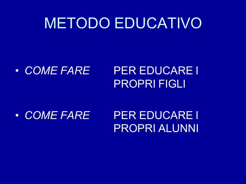 METODO EDUCATIVO COME FARE PER EDUCARE I PROPRI FIGLI COME FARE PER EDUCARE I PROPRI ALUNNI