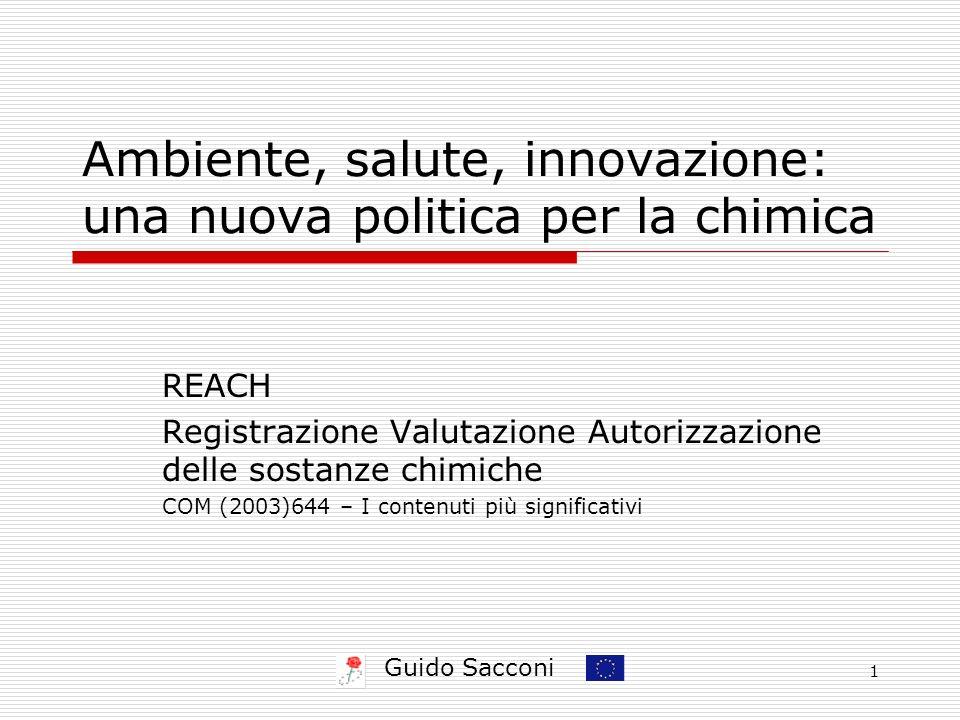 Guido Sacconi 1 Ambiente, salute, innovazione: una nuova politica per la chimica REACH Registrazione Valutazione Autorizzazione delle sostanze chimich