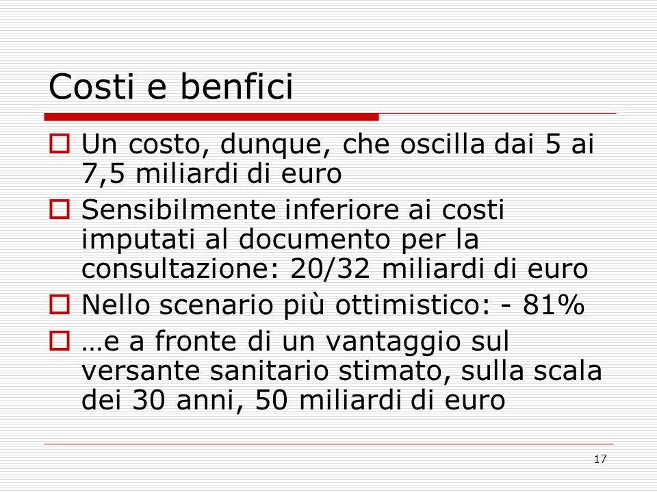 17 Costi e benfici Un costo, dunque, che oscilla dai 5 ai 7,5 miliardi di euro Sensibilmente inferiore ai costi imputati al documento per la consultaz
