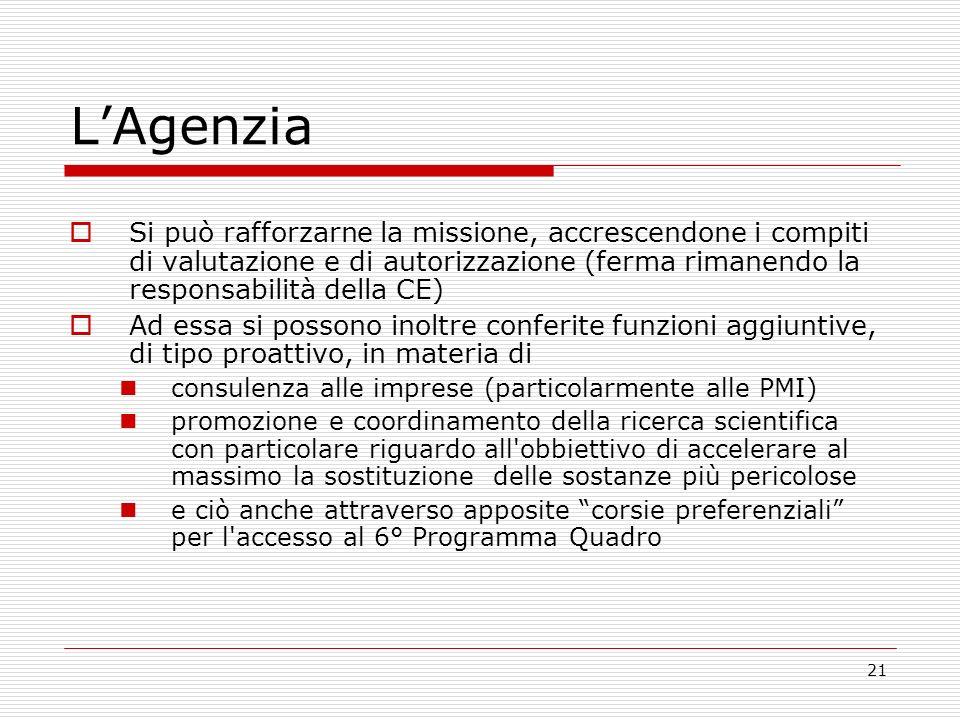 21 LAgenzia Si può rafforzarne la missione, accrescendone i compiti di valutazione e di autorizzazione (ferma rimanendo la responsabilità della CE) Ad