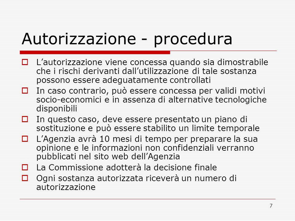 7 Autorizzazione - procedura Lautorizzazione viene concessa quando sia dimostrabile che i rischi derivanti dallutilizzazione di tale sostanza possono