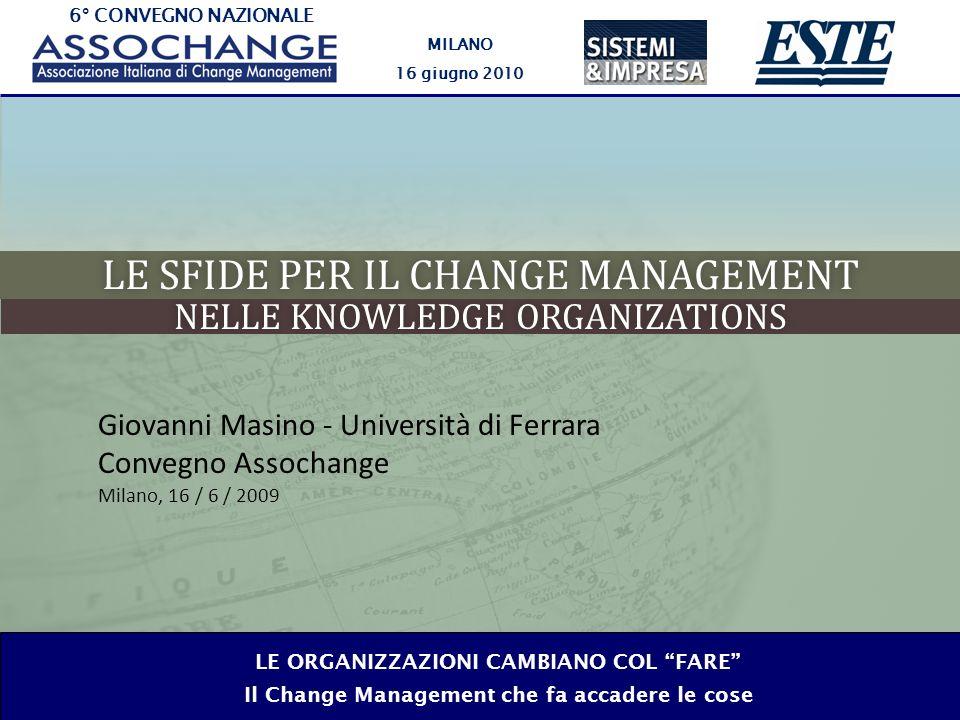 6° CONVEGNO NAZIONALE MILANO 16 giugno 2010 LE ORGANIZZAZIONI CAMBIANO COL FARE Il Change Management che fa accadere le cose LE SFIDE PER IL CHANGE MANAGEMENTLE SFIDE PER IL CHANGE MANAGEMENT NELLE KNOWLEDGE ORGANIZATIONSNELLE KNOWLEDGE ORGANIZATIONS Giovanni Masino - Università di Ferrara Convegno Assochange Milano, 16 / 6 / 2009