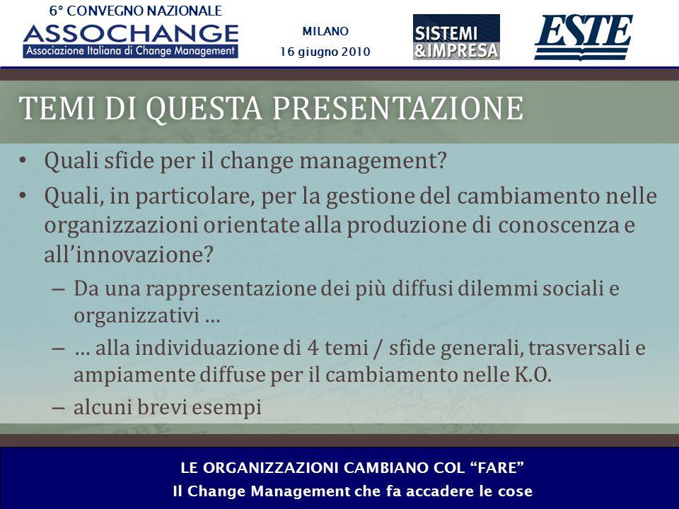 6° CONVEGNO NAZIONALE MILANO 16 giugno 2010 LE ORGANIZZAZIONI CAMBIANO COL FARE Il Change Management che fa accadere le cose TEMI DI QUESTA PRESENTAZIONETEMI DI QUESTA PRESENTAZIONE Quali sfide per il change management.