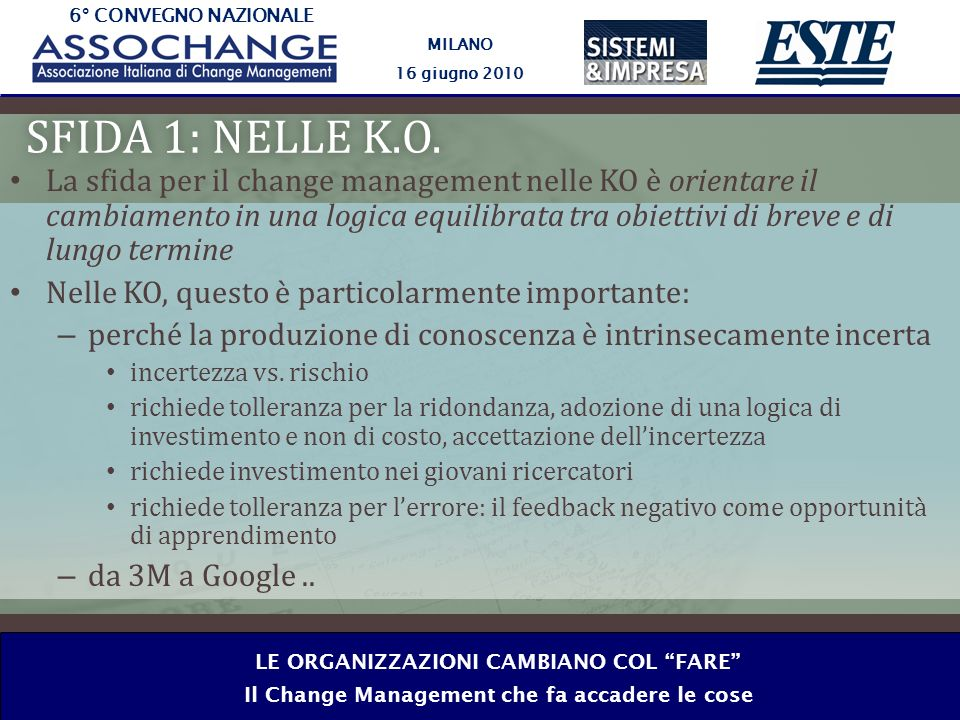 6° CONVEGNO NAZIONALE MILANO 16 giugno 2010 LE ORGANIZZAZIONI CAMBIANO COL FARE Il Change Management che fa accadere le cose SFIDA 1: NELLE K.O.SFIDA