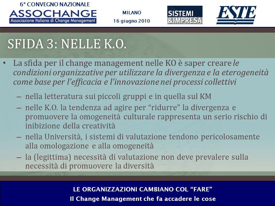 6° CONVEGNO NAZIONALE MILANO 16 giugno 2010 LE ORGANIZZAZIONI CAMBIANO COL FARE Il Change Management che fa accadere le cose SFIDA 3: NELLE K.O.SFIDA