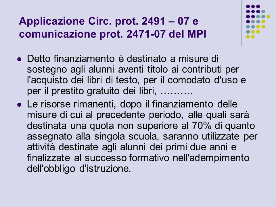 Applicazione Circ. prot. 2491 – 07 e comunicazione prot.