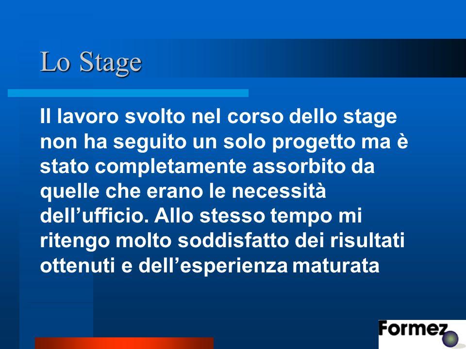 Lo Stage Il lavoro svolto nel corso dello stage non ha seguito un solo progetto ma è stato completamente assorbito da quelle che erano le necessità dellufficio.