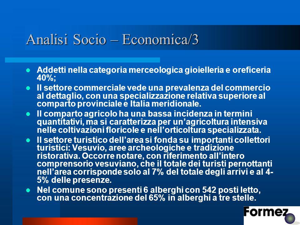 Analisi Socio – Economica/3 Addetti nella categoria merceologica gioielleria e oreficeria 40%; Il settore commerciale vede una prevalenza del commercio al dettaglio, con una specializzazione relativa superiore al comparto provinciale e Italia meridionale.